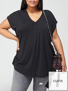 v-by-very-curve-cupro-v-neck-tunic-black