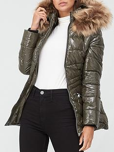 v-by-very-short-high-shine-padded-coat-olive