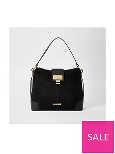 river-island-lock-front-slouch-bag-black