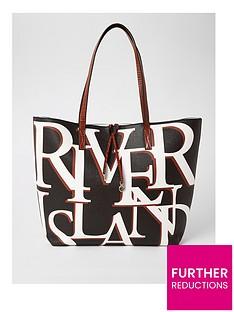 river-island-river-island-brand-print-shopper-bag-black