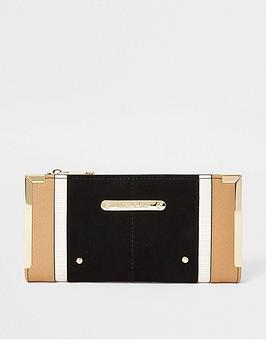 river-island-tan-mix-metal-corner-purse-black