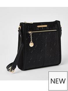 river-island-river-island-embossed-messenger-bag-black