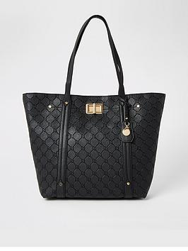 river-island-lock-detail-shopper-bag-black