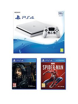 playstation-4-ps4-white-500gb-console-with-death-stranding-marvels-spider-man-and-optional-extras