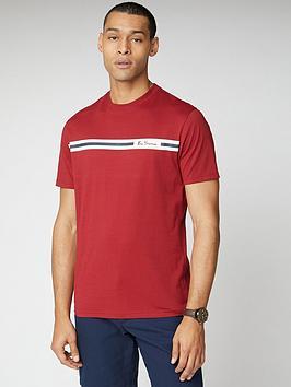 ben-sherman-printed-chest-stripe-t-shirt-red