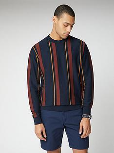 ben-sherman-knitted-mod-stripe-crew-neck-jumper-dark-navy