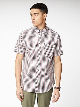 ben-sherman-short-sleeve-signature-house-check-shirt-red