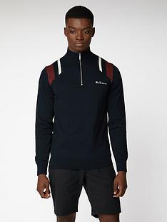 ben-sherman-mod-stripe-quarter-zip-funnel-neck-jumper-black