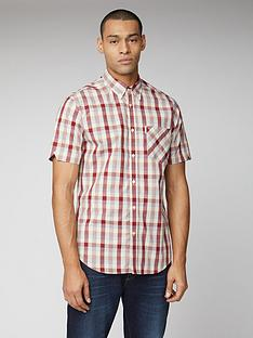 ben-sherman-short-sleeve-check-shirt-red