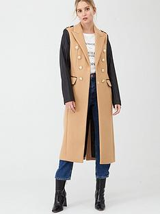 river-island-double-breasted-pu-sleeve-military-coat-camel