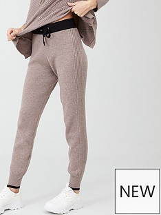 river-island-river-island-colourblock-knitted-co-ord-jogger--oatmeal