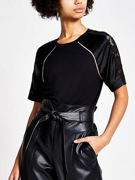 river-island-river-island-satin-lace-mix-sleeve-jersey-tee--black