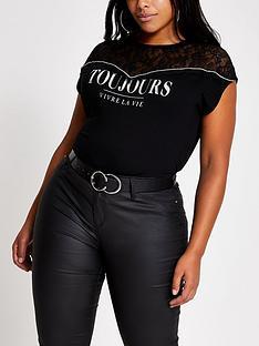 ri-plus-lace-blocked-t-shirt--black