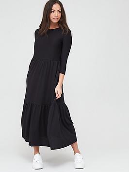 river-island-river-island-long-sleeve-midi-smock-dress-black
