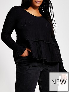 ri-plus-v-neck-smock-jersey-top-black