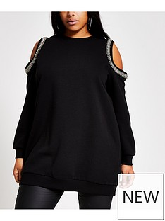 ri-plus-cold-shoulder-sweat-black