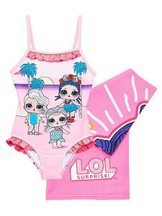 lol-surprise-girls-2-piecenbspswimsuit-and-towel-set-pink