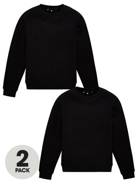 v-by-very-unisex-2-pack-basic-school-sweat-top-black