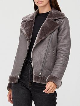 V By Very Faux Shearling Aviator Jacket - Grey