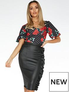 quiz-pu-ruffle-midi-skirt-black