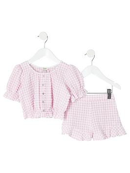 river-island-mini-mini-girls-gingham-puff-sleeve-top-and-shorts-pink