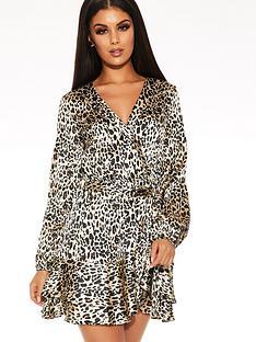 quiz-satin-leopard-balloon-sleeve-frill-hem-wrap-tie-belt-dress-brown