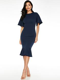 quiz-fluted-sleeve-midi-dress-navy