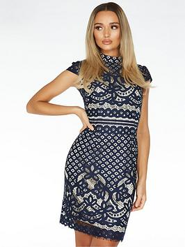 quiz-crochet-high-neck-cap-sleeve-midi-dress-blue
