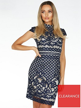 quiz-crochet-high-neck-cap-sleeve-midi-dress-blue