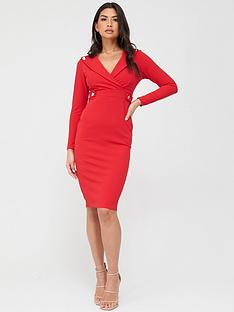 quiz-button-lapel-midi-dress-red