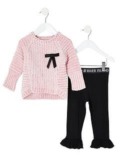 river-island-mini-mini-girls-bow-jumper-and-legging-set-pinkblack