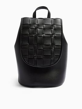 topshop-woven-flap-backpack-black