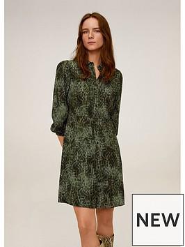 mango-snake-print-shirt-dress-green