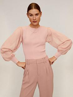 mango-sheer-puff-sleeve-top-pink