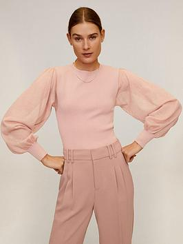 mango-sheer-puff-sleeve-top-pink