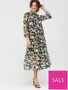 mango-watercolour-floral-midi-dress-black