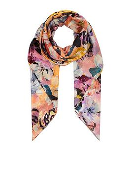 monsoon-marie-floral-silk-square-scarf-pink