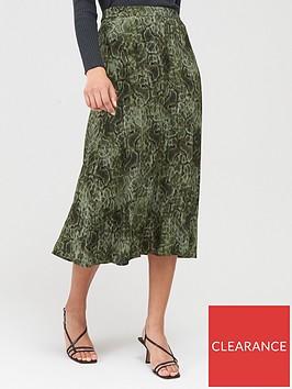 mango-snake-print-midi-skirt-green