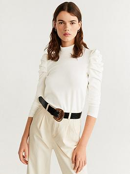 mango-ruched-sleeve-top-natural