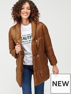mango-longline-button-front-padded-coat-dark-brown