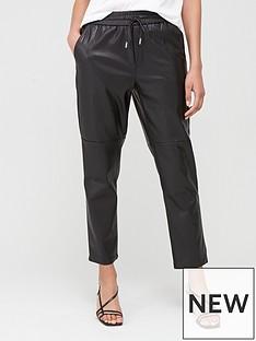 mango-pu-leather-joggers-black