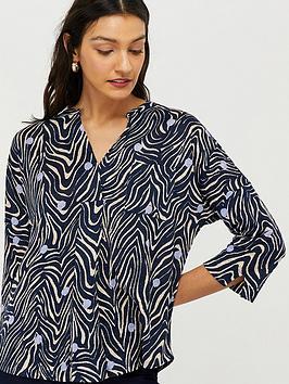 monsoon-lois-linen-printed-long-sleeve-top-navy