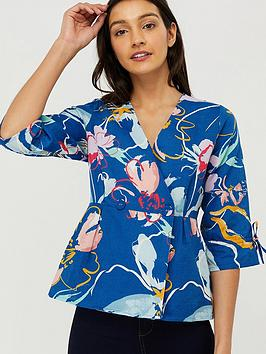 monsoon-fleur-print-organic-cotton-linen-blouse-blue