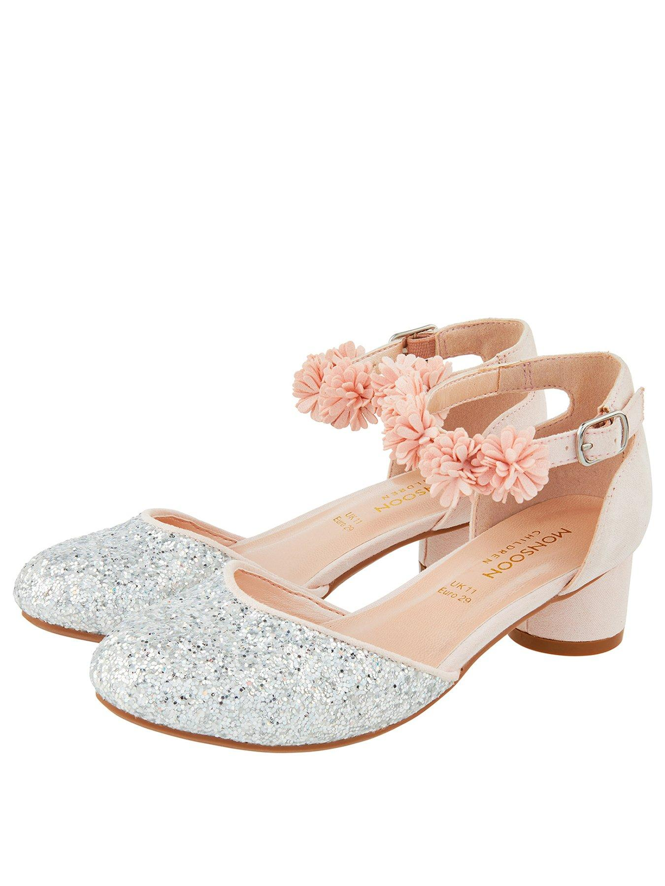 Girls kids dusky pink glitter sparkly party heeled shoes dressing up occasion