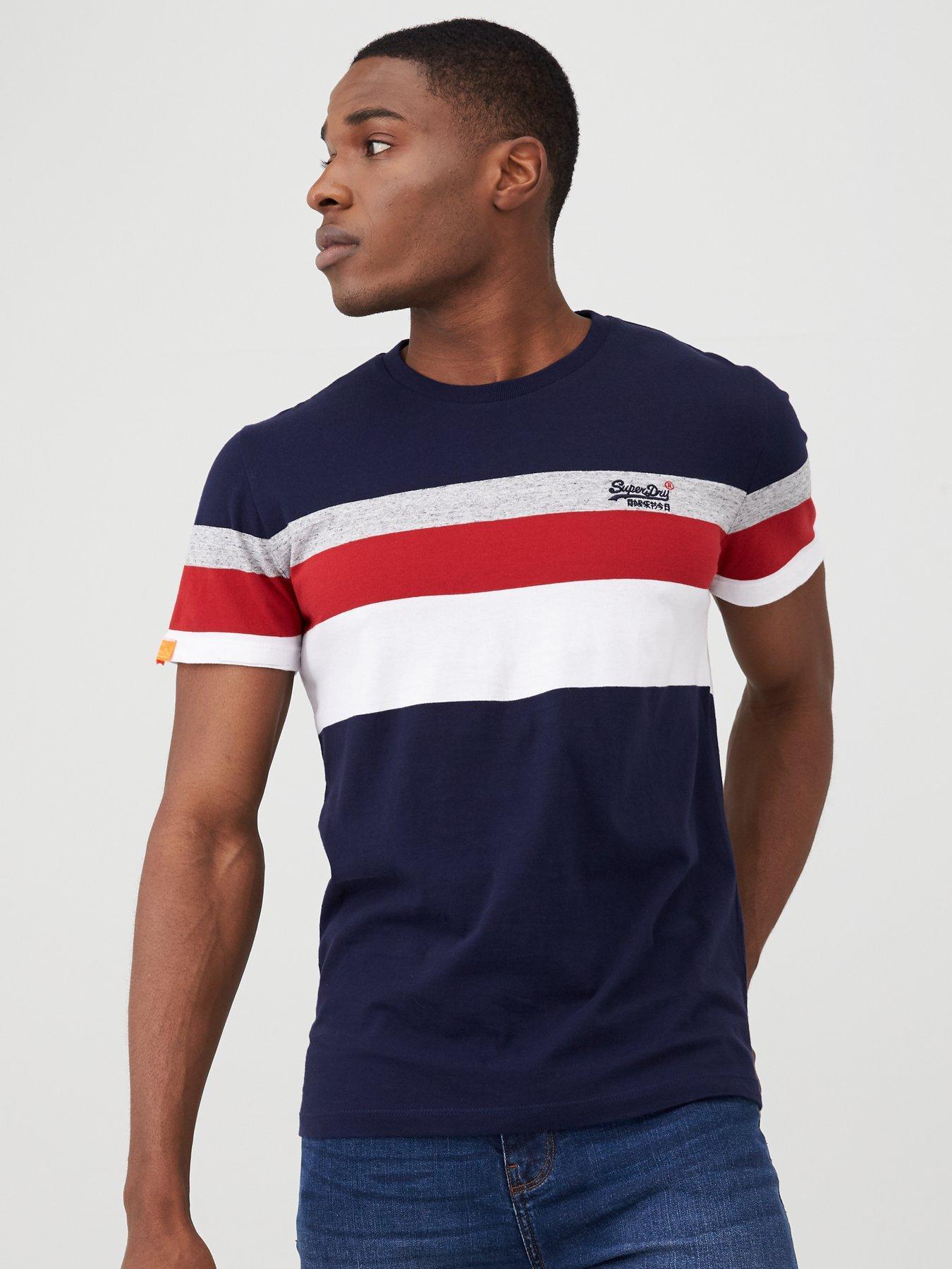 Superdry Orange Label Tipped Sports Stripes T-Shirt Navy 98T