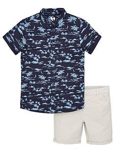 v-by-very-boys-2-piece-navy-shirt-and-short-set-multi