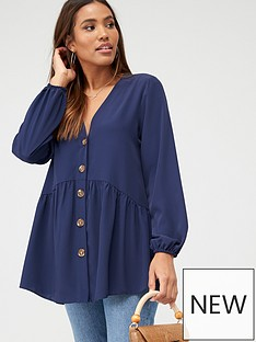 v-by-very-longline-button-through-tunic-blouse-navy
