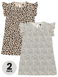 v-by-very-girlsnbspruffle-sleeve-printed-dresses-2-pack-multi