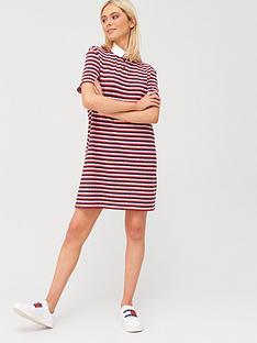 tommy-jeans-stripe-polo-dress-red