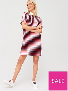 tommy-jeans-stripe-polo-dress-red
